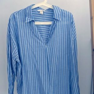Blue striped boyfriend shirt v neck H&M